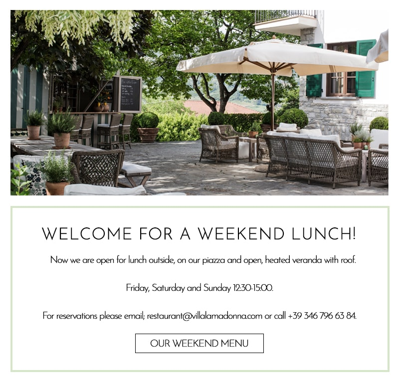 Welcome for a weekend lunch